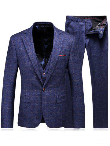 Unique Single Breasted Checked Three-Piece Suit ( Blazer + Waistcoat + Pants ) - 2XL BLUE Mobile