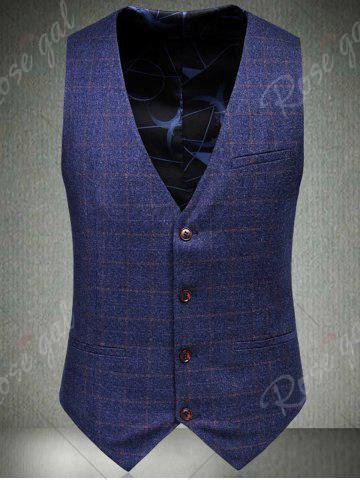 Outfits Single Breasted Checked Three-Piece Suit ( Blazer + Waistcoat + Pants ) - 2XL BLUE Mobile