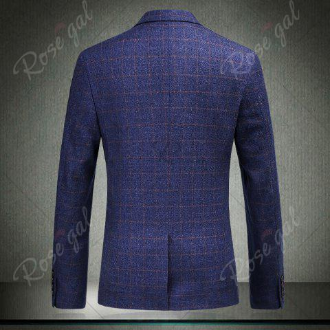 Latest Single Breasted Checked Three-Piece Suit ( Blazer + Waistcoat + Pants ) - 2XL BLUE Mobile
