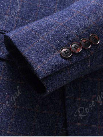 Online Single Breasted Checked Three-Piece Suit ( Blazer + Waistcoat + Pants ) - 2XL BLUE Mobile