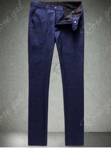 Trendy Single Breasted Checked Three-Piece Suit ( Blazer + Waistcoat + Pants ) - 2XL BLUE Mobile
