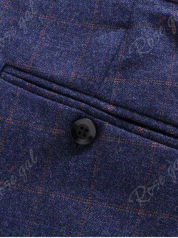 Shops Single Breasted Checked Three-Piece Suit ( Blazer + Waistcoat + Pants ) - 2XL BLUE Mobile