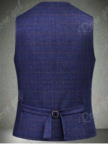 Fancy Single Breasted Checked Three-Piece Suit ( Blazer + Waistcoat + Pants ) - 2XL BLUE Mobile