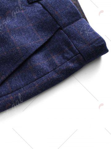 New Single Breasted Checked Three-Piece Suit ( Blazer + Waistcoat + Pants ) - 2XL BLUE Mobile