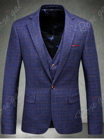 Chic Single Breasted Checked Three-Piece Suit ( Blazer + Waistcoat + Pants ) - 2XL BLUE Mobile