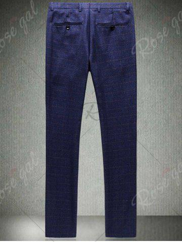 Buy Single Breasted Checked Three-Piece Suit ( Blazer + Waistcoat + Pants ) - 2XL BLUE Mobile