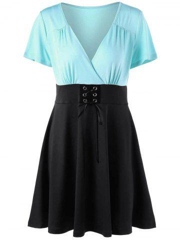 Unique Two Tone Low Cut Lace Up Dress - 2XL BLUE AND BLACK Mobile