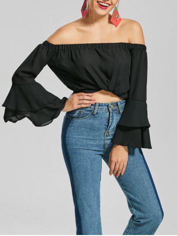 Buy Flare Sleeve Chiffon Off The Shoulder Top BLACK S