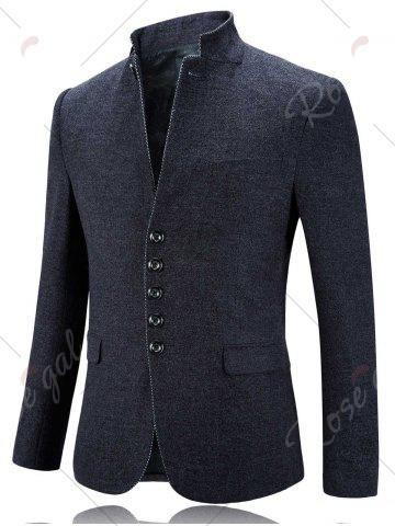 Cheap Single Breasted Stand Collar Slim Fit Blazer - 2XL GRAY Mobile