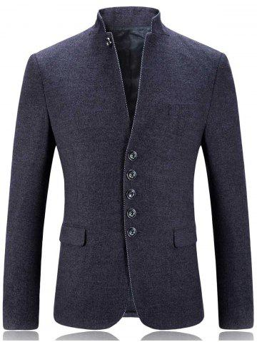 Fashion Single Breasted Stand Collar Slim Fit Blazer - 2XL GRAY Mobile