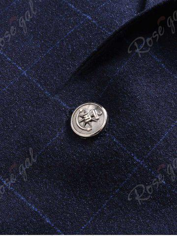 New Single Breasted Lapel Plaid Slim Fit Blazer - M BLUE Mobile
