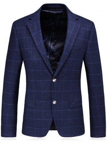 Outfit Single Breasted Lapel Plaid Slim Fit Blazer - M BLUE Mobile