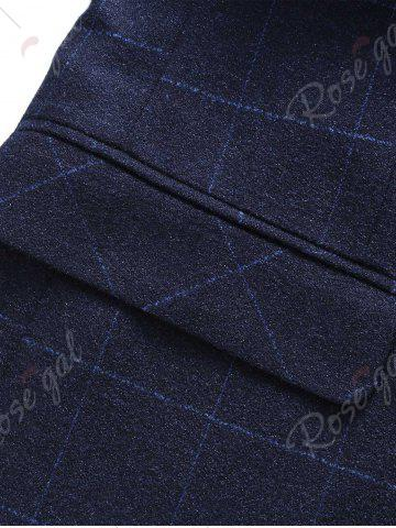 Store Single Breasted Lapel Plaid Slim Fit Blazer - M BLUE Mobile