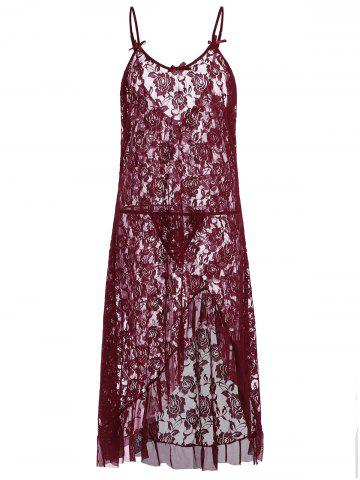 Spaghetti Strap Lace See Through Plus Size Babydoll - Wine Red - 6xl