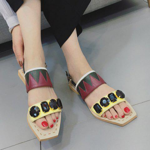 Outfit Flat Heel Geometric Pattern Sandals - 37 YELLOW Mobile
