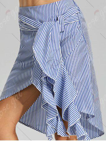 Fashion Belted Striped Asymmetric Skirt - S BLUE Mobile