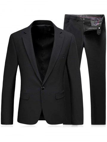 New One Button Slim Fit Lapel Blazer and Pants Twinset - 3XL BLACK Mobile