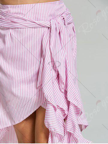 Trendy Belted Striped Asymmetric Skirt - XL PINK Mobile