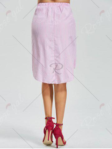Outfits Belted Striped Asymmetric Skirt - XL PINK Mobile