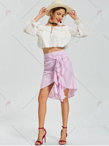 New Belted Striped Asymmetric Skirt - XL PINK Mobile