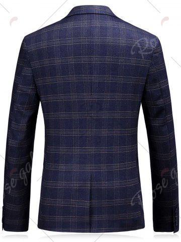 Outfit One Button Lapel Tartan Blazer and Pants Twinset - M BLUE Mobile