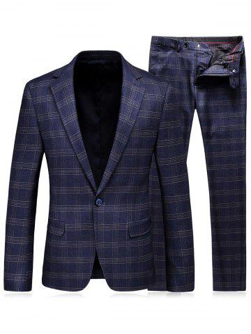 Store One Button Lapel Tartan Blazer and Pants Twinset - M BLUE Mobile