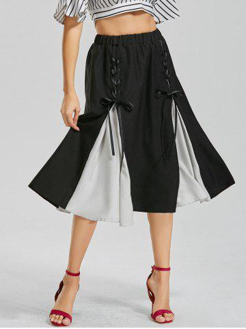 Cheap Color Block Lace-up Midi Skirt - S BLACK Mobile