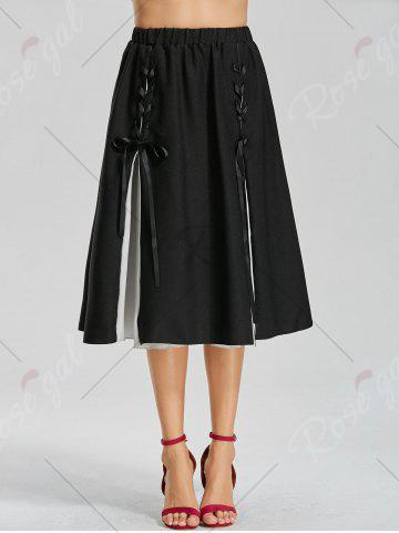 Outfit Color Block Lace-up Midi Skirt - S BLACK Mobile
