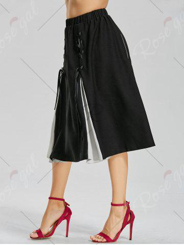 Chic Color Block Lace-up Midi Skirt - S BLACK Mobile