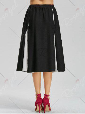 Discount Color Block Lace-up Midi Skirt - S BLACK Mobile