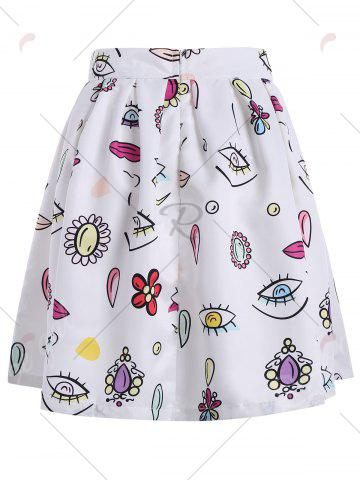 Fancy Knee Length Printed A Line Skirt - S WHITE Mobile