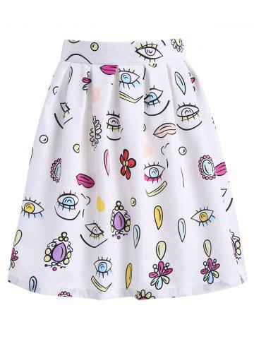 Fashion Knee Length Printed A Line Skirt WHITE XL
