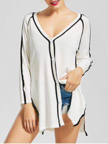 Chic V Neck Button Up Knit Cardigan - S WHITE Mobile