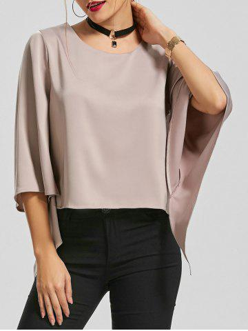 Flare Sleeve Blouse with Chocker Necklace - Light Purple - Xl