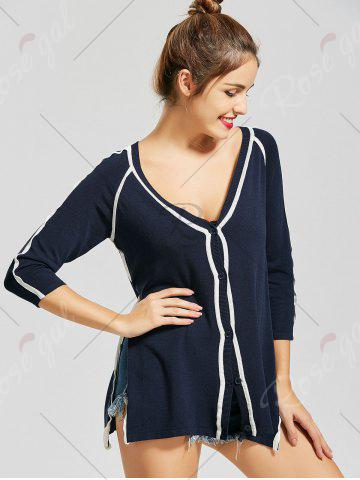 Unique V Neck Button Up Knit Cardigan - S PURPLISH BLUE Mobile