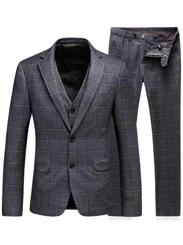 Store Single Breasted Plaid Three-Piece Suit ( Blazer + Waistcoat + Pants ) - M LIGHT GRAY Mobile