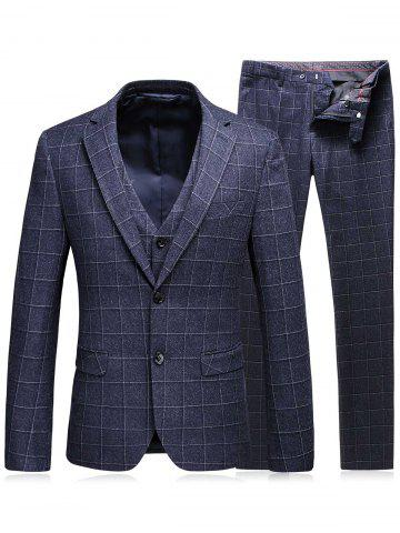 Best Single Breasted Plaid Three-Piece Suit ( Blazer + Waistcoat + Pants ) - 3XL DEEP GRAY Mobile