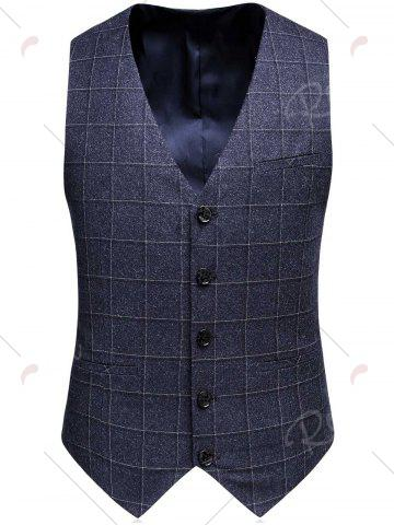 Fancy Single Breasted Plaid Three-Piece Suit ( Blazer + Waistcoat + Pants ) - 3XL DEEP GRAY Mobile