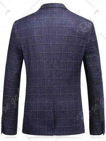 Outfits Single Breasted Plaid Three-Piece Suit ( Blazer + Waistcoat + Pants ) - 3XL DEEP GRAY Mobile