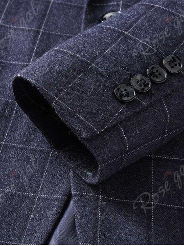 Buy Single Breasted Plaid Three-Piece Suit ( Blazer + Waistcoat + Pants ) - 3XL DEEP GRAY Mobile