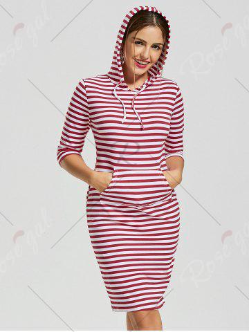 Outfit Striped Kangaroo Pocket Hoodie Dress - XL RED STRIPE Mobile
