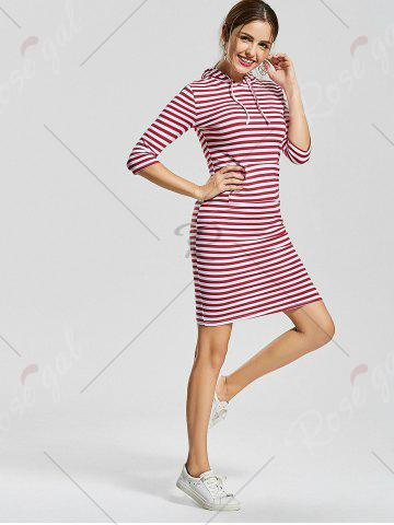 Unique Striped Kangaroo Pocket Hoodie Dress - L RED STRIPE Mobile