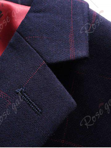Trendy Lapel Checked Slim Fit Single Breasted Blazer - M CADETBLUE Mobile