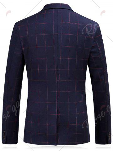 New Lapel Checked Slim Fit Single Breasted Blazer - M CADETBLUE Mobile