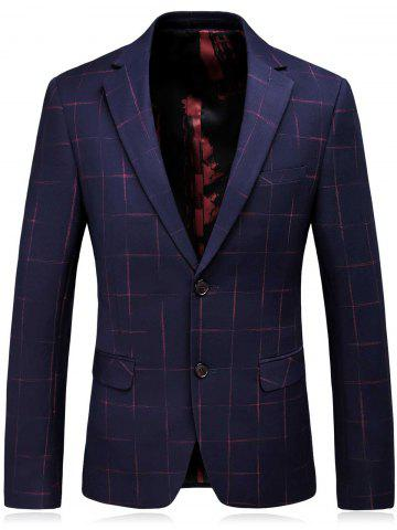 Outfits Lapel Checked Slim Fit Single Breasted Blazer - M CADETBLUE Mobile