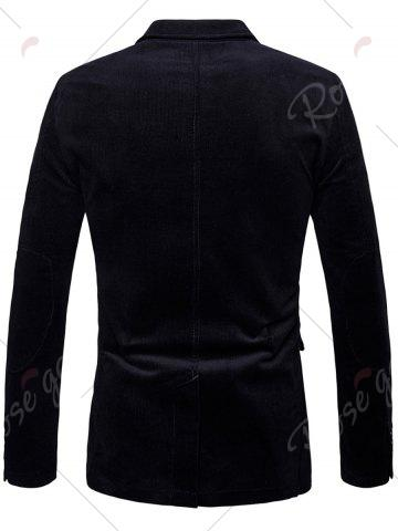 Hot Elbow Patch Single Breasted Corduroy Blazer - 3XL BLACK Mobile