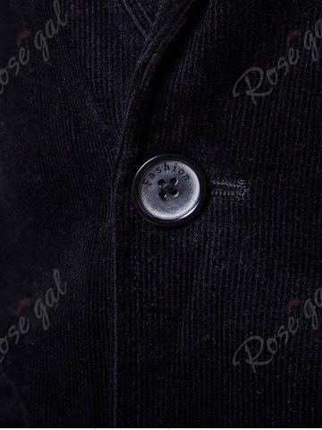 Discount Elbow Patch Single Breasted Corduroy Blazer - 3XL BLACK Mobile