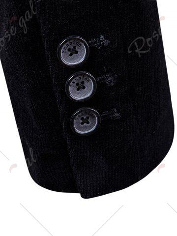 Affordable Elbow Patch Single Breasted Corduroy Blazer - 3XL BLACK Mobile