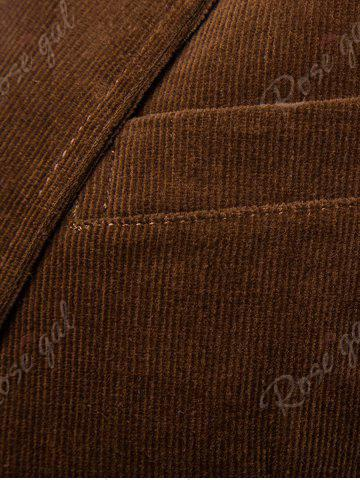 Chic Elbow Patch Single Breasted Corduroy Blazer - 3XL BROWN Mobile