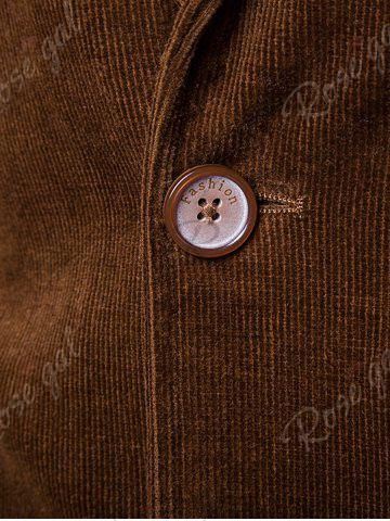 Discount Elbow Patch Single Breasted Corduroy Blazer - 3XL BROWN Mobile
